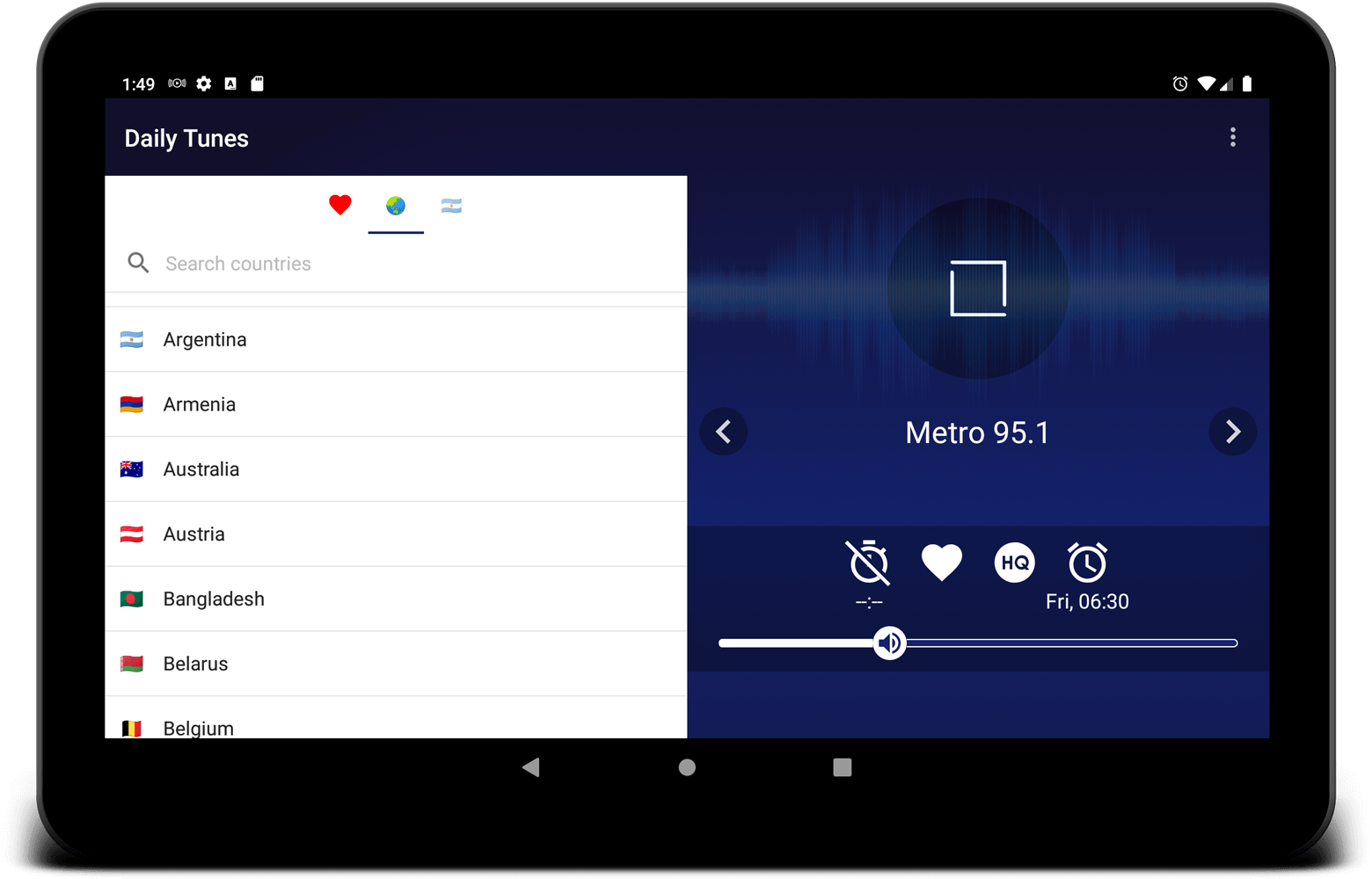 Online radio player on Android tablet