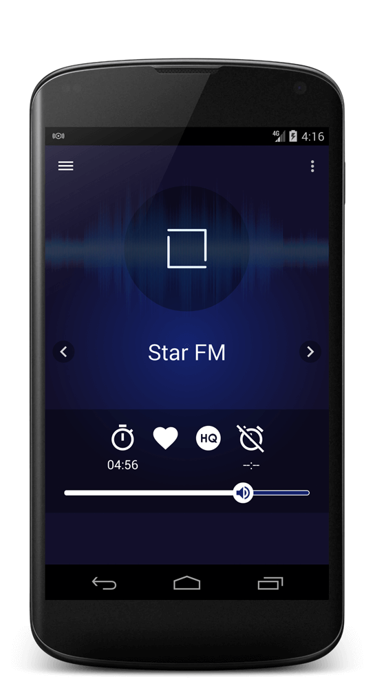 Android online radio player with sleep timer